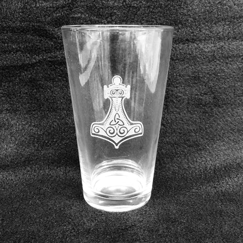 Etched 16oz pint glass - Thors hammer