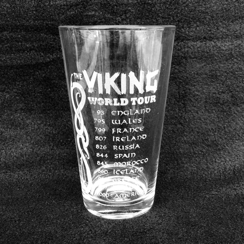 Etched 16oz pint glass - Viking world tour
