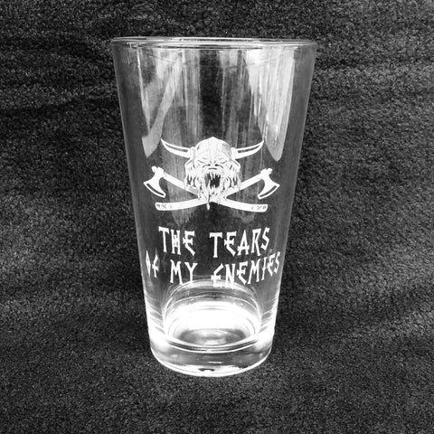 Etched 16oz pint glass - Tears of my enemies