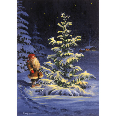 Jan Bergerlind boxed cards, tomte at snow covered tree