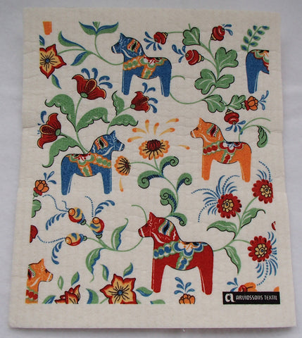 Dish Cloth Sponge - Swedish Dala horses
