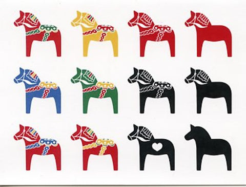 Boxed Note Cards, Dala horses