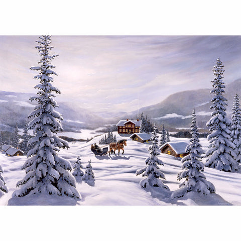 Jan Bergerlind boxed cards, snow covered cabins