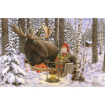 Jan Bergerlind boxed cards, tomte and moose with camp fire
