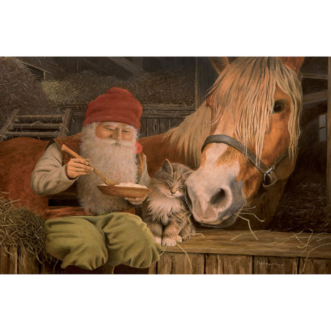 Jan Bergerlind boxed cards, tomte eating porridge with horse and cat
