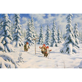 Jan Bergerlind boxed cards, tomtes skiing