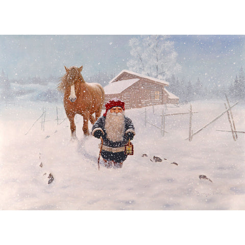 Jan Bergerlind boxed cards, tomte with horse in snow