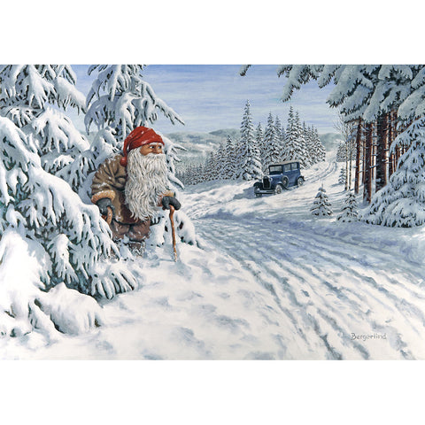Jan Bergerlind boxed cards, tomte with car
