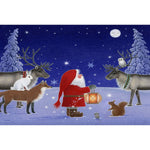 Rectangle Magnet, Eva Melhuish, Tomte w/ Reindeer & Owl