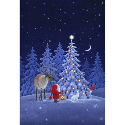 Eva Melhuish boxed cards, Tomte & Reindeer at Tree