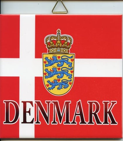 "6"" Ceramic Tile, Denmark Flag & Crest"