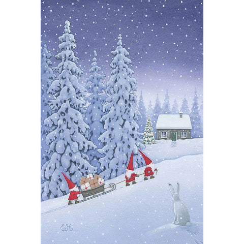 Eva Melhuish boxed cards, Three Gnomes Pulling Sled Uphill