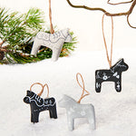 Black & White Dala Horse ornaments, pair