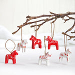 Red & White Dala Horse ornaments, pair