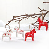 Red & White Dala Horse ornaments, set of 4