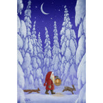 Rectangle Magnet, Eva Melhuish Tomte with rabbit & fox