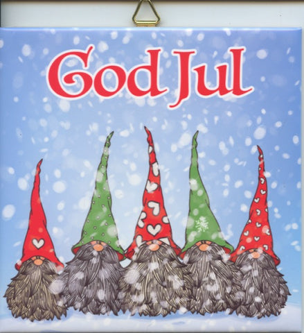 "6"" Ceramic Tile, God Jul Gnomes"
