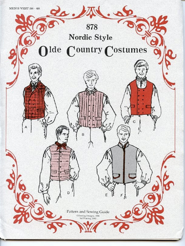 Costume Pattern - Mens vests sizes 38-48
