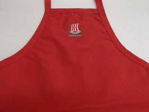 Apron - Embroidered Danish colors Viking Ship