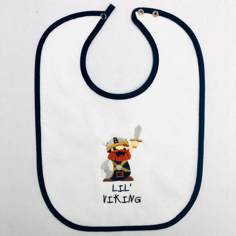 Baby Bib, Lil' Viking on Navy