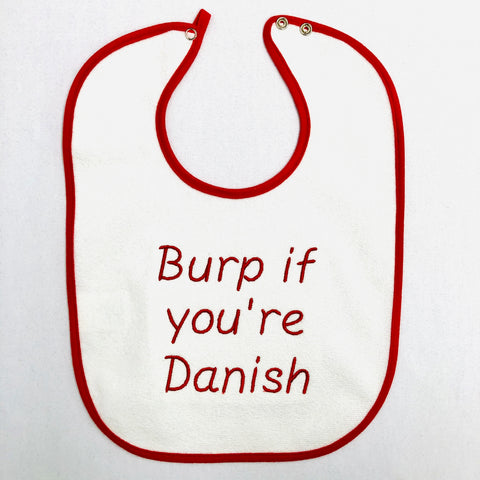 Baby Bib, Burp if you're Danish on Red