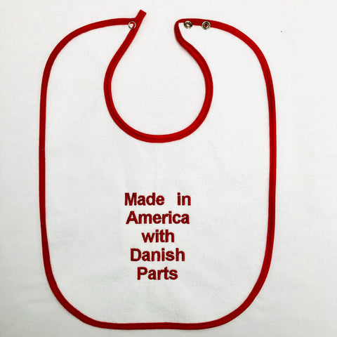 Baby Bib, Danish Parts on red