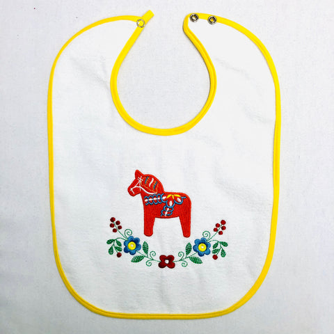 Baby Bib, Floral Dalahorse on Yellow