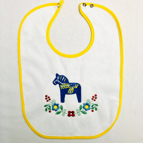 Baby Bib, Blue Dala Horse & Flowers on Yellow
