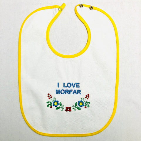 Baby Bib, I Love Morfar on yellow