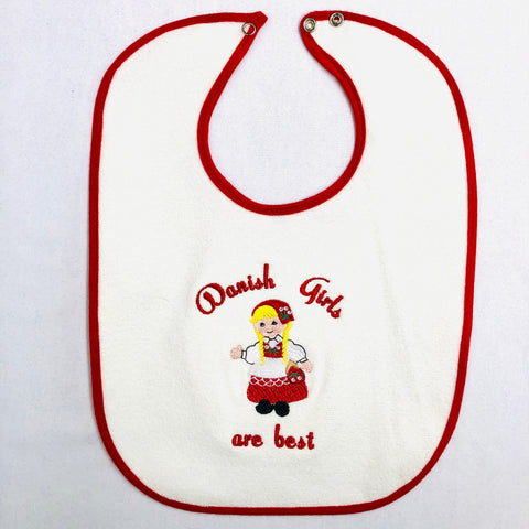 Baby Bib, Danish Girls on red