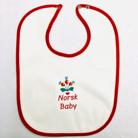 Baby Bib, Norsk Baby on red