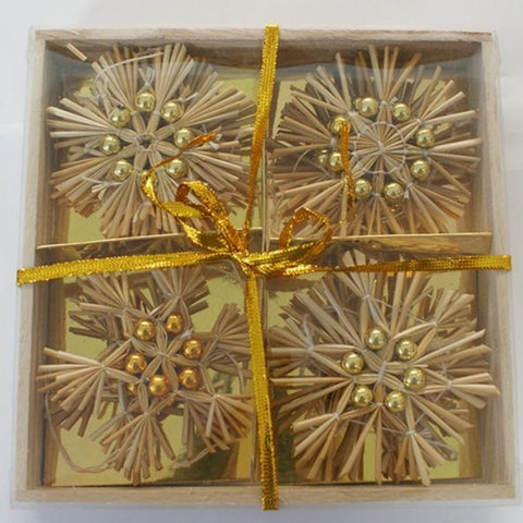 Straw snowflake w/ gold beads ornament set - 12 pc set.