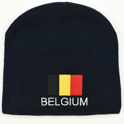 Knit beanie hat - Belgium flag
