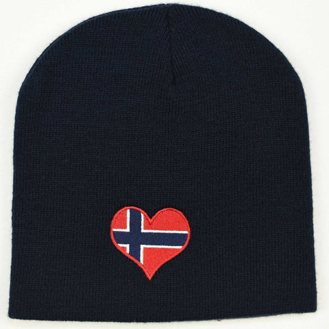 Knit  beanie hat - Norway heart flag