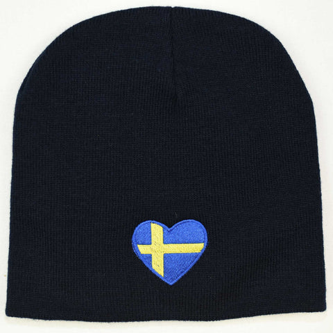 Knit  beanie hat - Sweden heart flag