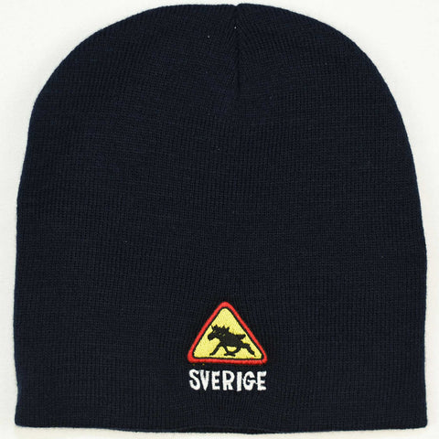 Knit beanie hat - Sverige moose crossing