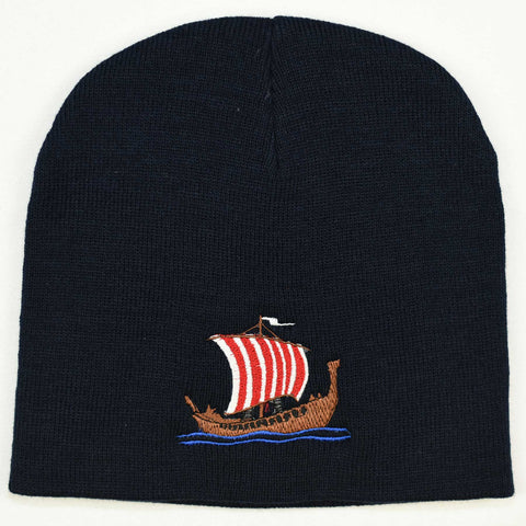 Knit  beanie hat - Viking ship