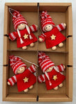 Red/star gnome ornaments - Set of 4