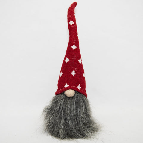 Dark Gray beard gnome with red knit hat, 8""