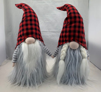 Buffalo Plaid gnome couple, 20""