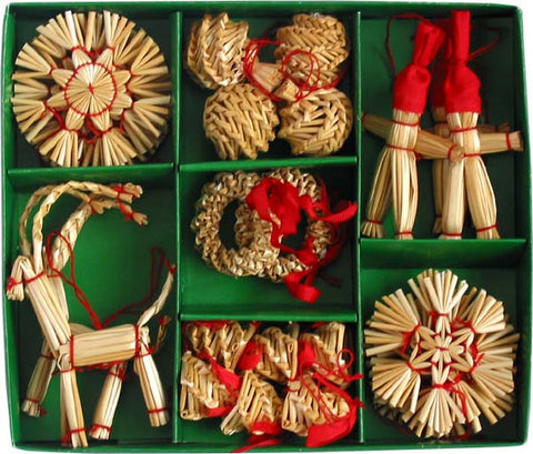 Straw ornament set - 29 pc set.