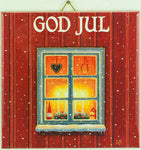 "6"" Ceramic Tile, Eva Melhuish Red God Jul window"
