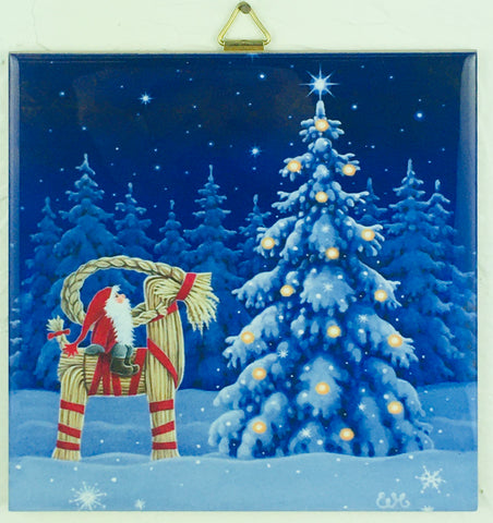 "6"" Ceramic Tile, Eva Melhuish Tomte on Straw Goat"