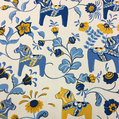 Swedish fabric - White w/ Blue & Yellow Dala horses & kurbits