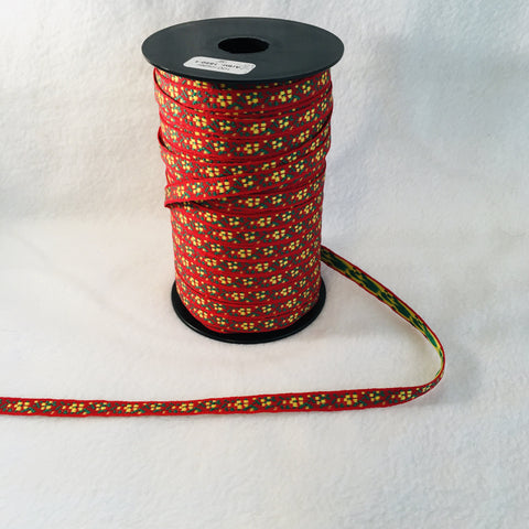 Fabric Ribbon Trim by the yard - Red with yellow & green