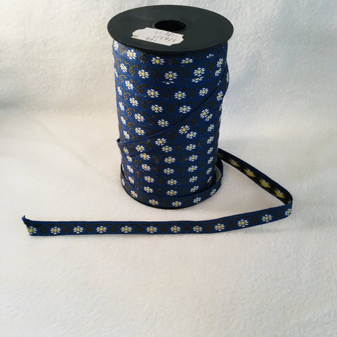 Fabric Ribbon Trim by the yard - Navy with white daisies