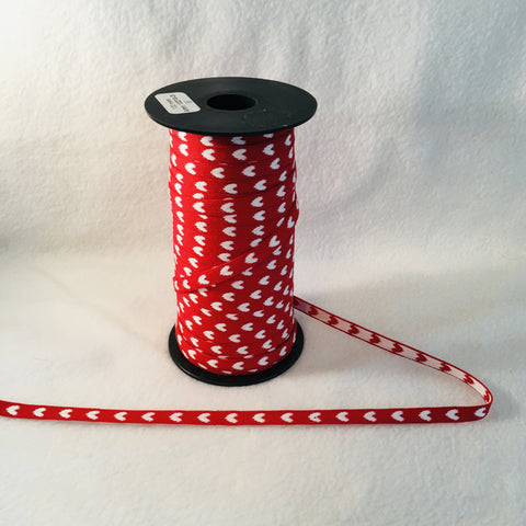 Fabric Ribbon Trim by the yard - Red with white hearts