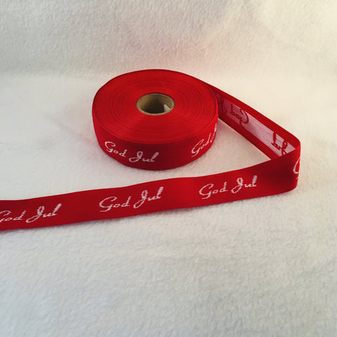 Fabric Ribbon Trim by the yard - Red with white God Jul