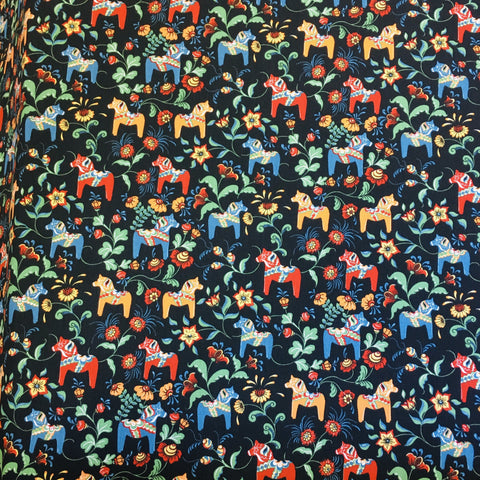 Swedish fabric - Black w/ Multi Color Mini Dala horses & kurbits