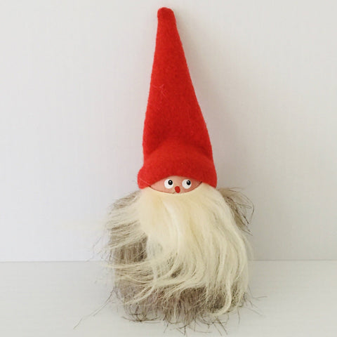Hand made tomte with fuzzy fur jacket